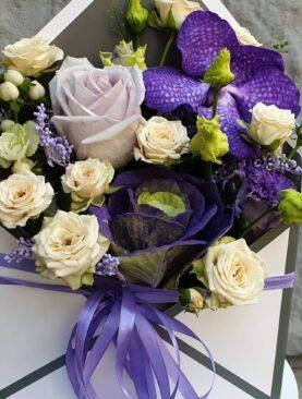 """Цветы в коробке """"письмо надежды"""""""